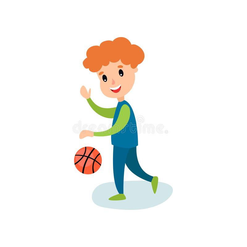 Smiling little boy character playing basketball, kids physical activity cartoon vector Illustration stock illustration