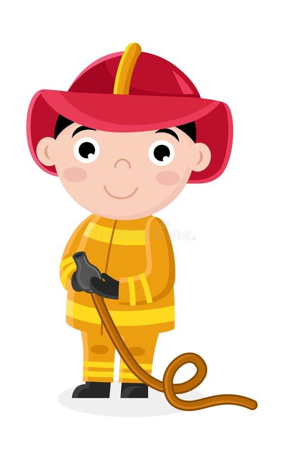 Smiling little boy in fireman uniform with hose stock illustration