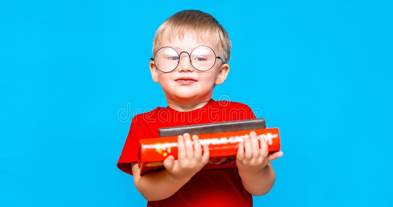 Smiling Little boy in round glasses holding a stack of books. education. ready to school.  stock photos