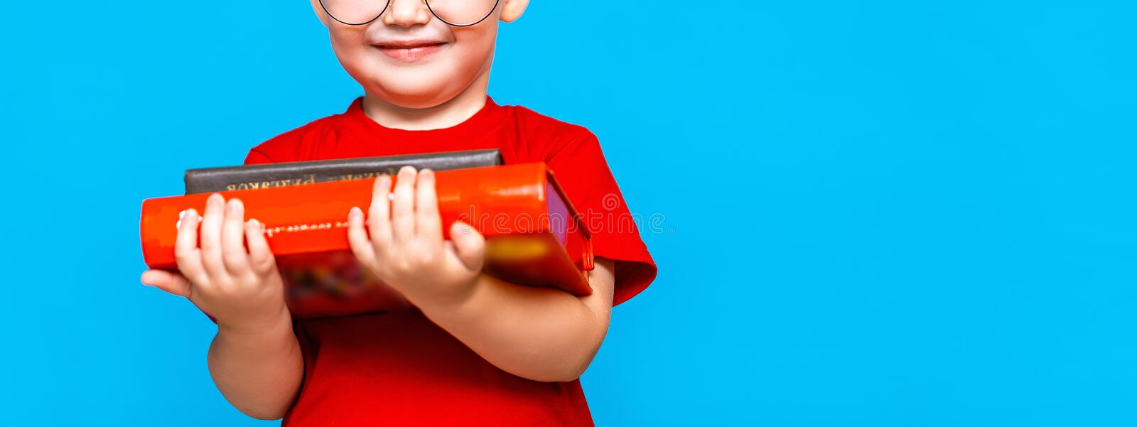 Smiling Little boy in round glasses holding a stack of books. education. ready to school.  royalty free stock photos