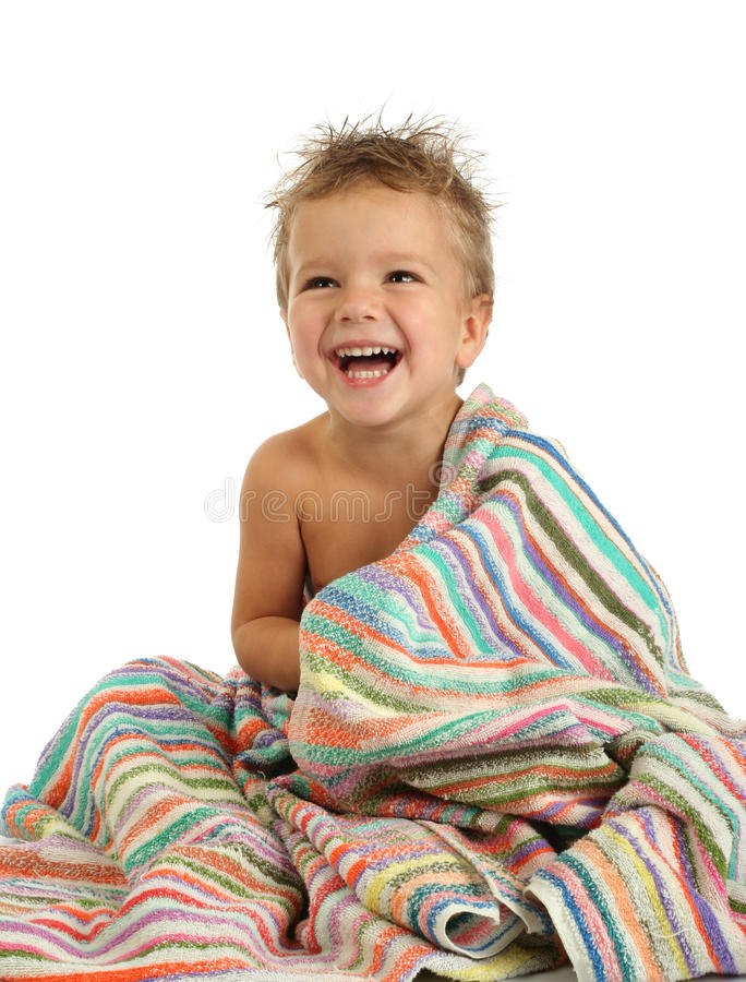 Download Smiling Little Boy In Towel Stock Image - Image: 11900963