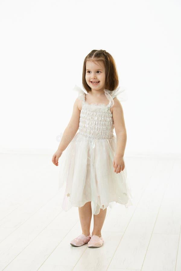 Smiling little girl in ballet costume stock images