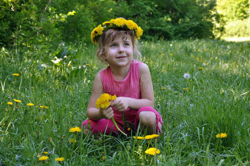 Smiling little girl with dandelions stock photos