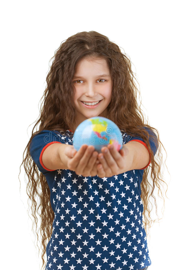 Smiling little girl with globe stock photos
