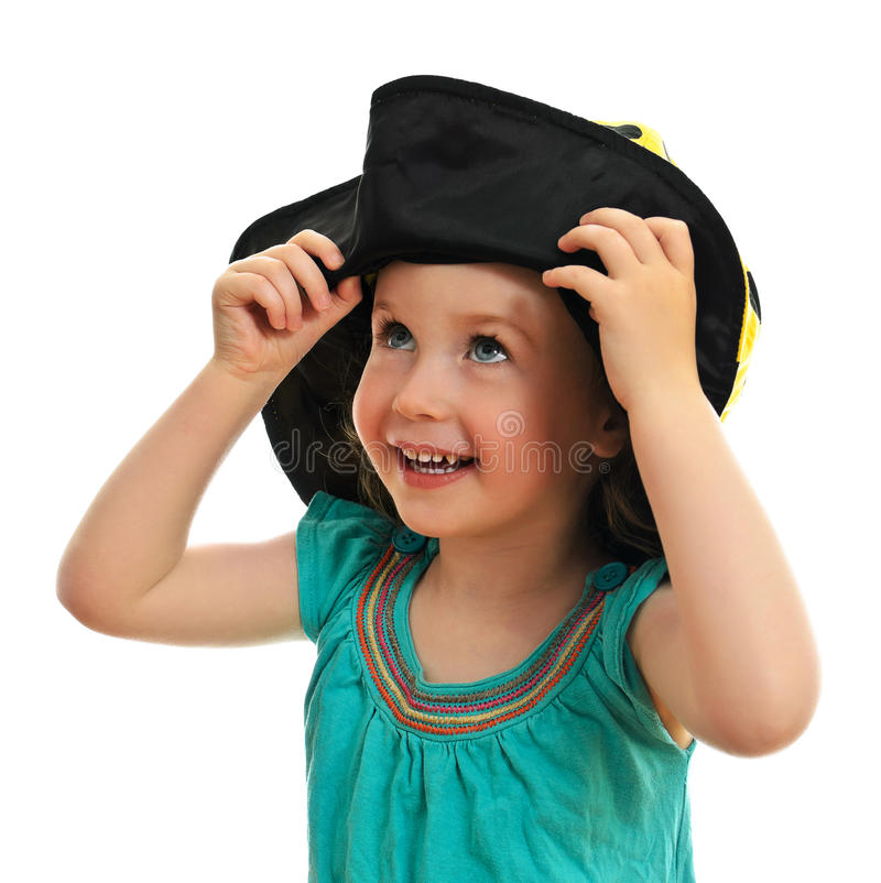 Download Smiling little girl in hat stock image. Image of girl - 25263263