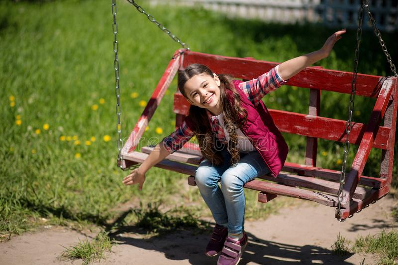 Smiling Little Girl With Long Pigtails Is On The Swing In The Park. royalty free stock images