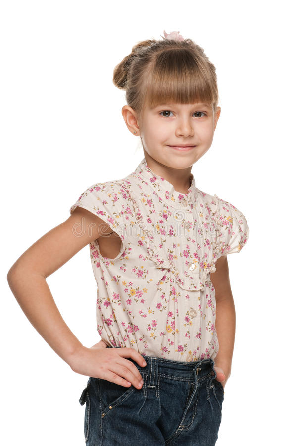 Smiling little girl looks forward stock photos