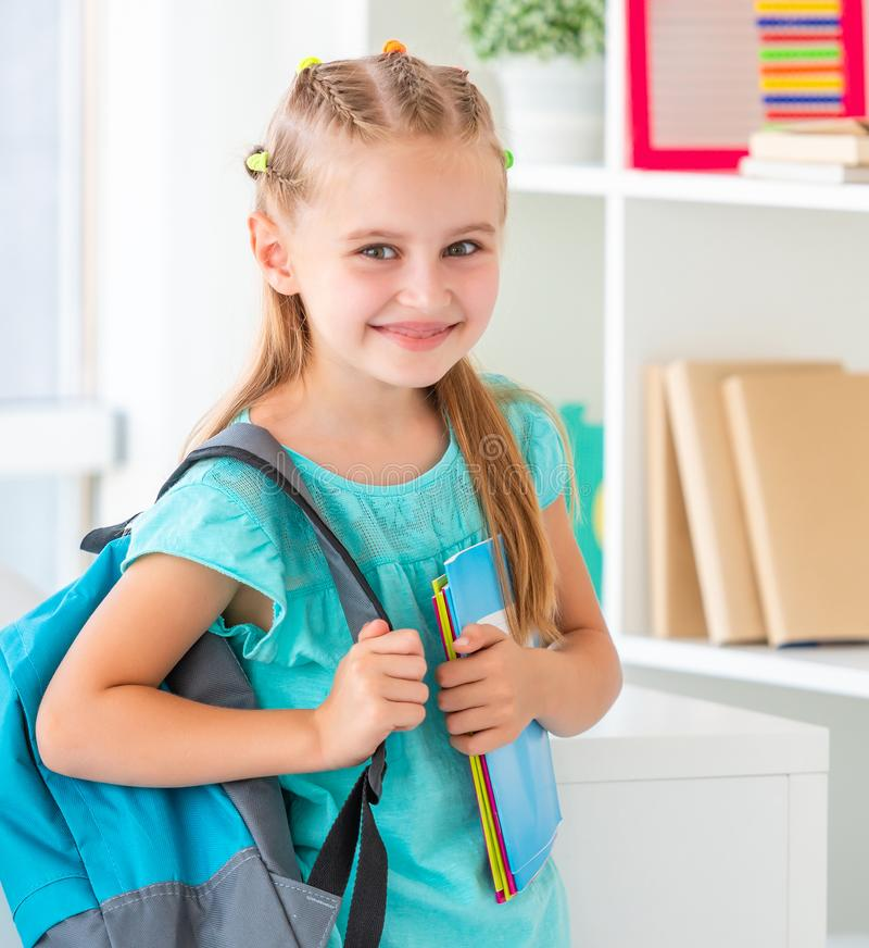 Smiling little girl ready back to school stock photos