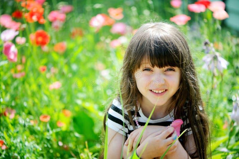 Smiling little girl sitting on poppy field stock photo