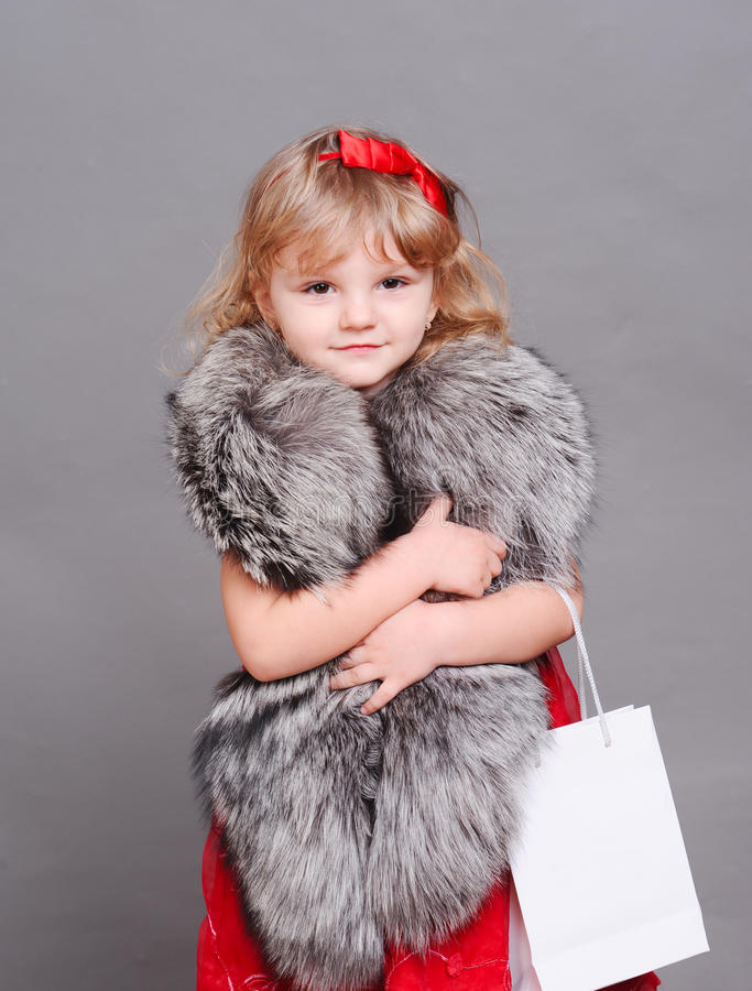 Smiling Little Girl Wearing Stylish Fur Clothes Stock Image Image