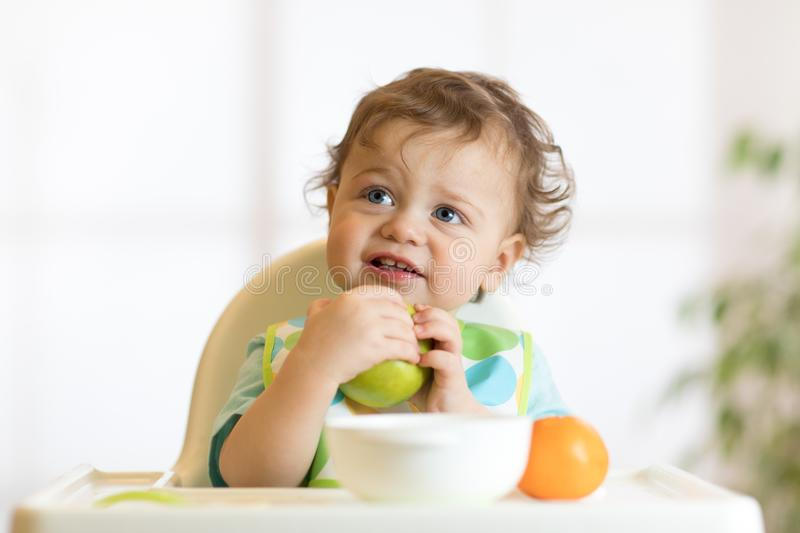 Smiling little kid child baby boy sitting in highchair and eating big green apple fruit portrait indoors stock images
