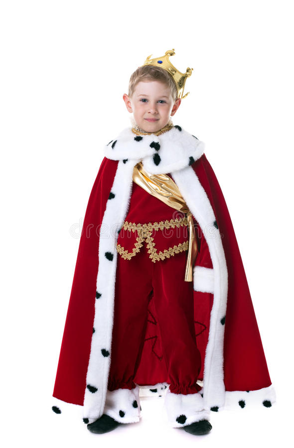 Smiling little king isolated on white background stock photos