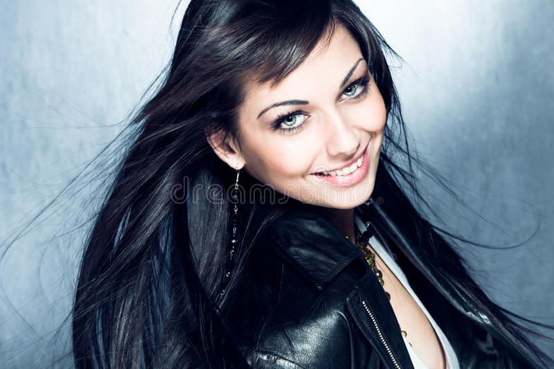 Download Smiling Long Black Hair Girl With Blue Eyes Stock Image - Image: 24318383