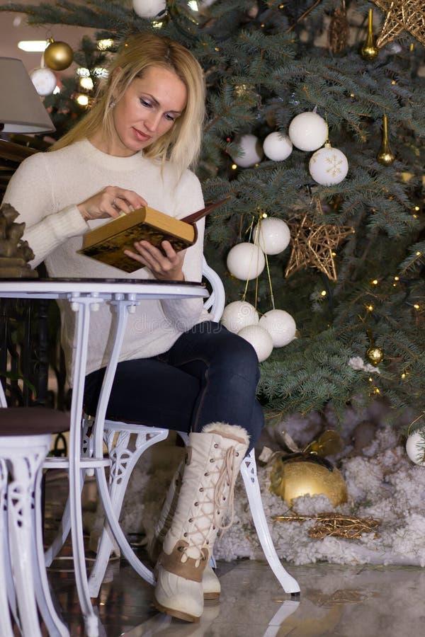 Smiling long hair female celebration Christmas. Smiling blonde long hair female celebration Christmas stock image