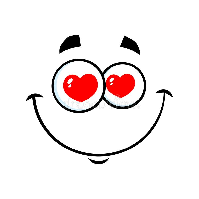 Free Smiling Love Cartoon Funny Face With Hearts Eyes Expression Royalty Free Stock Photos - 120323278