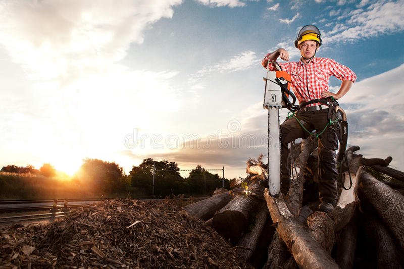 Smiling lumberjack with chainsaw stock photography