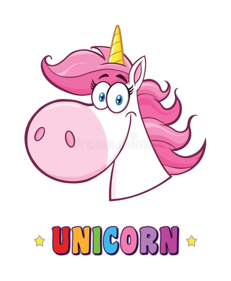 Smiling Magic Unicorn Head Classic Cartoon Character illustration libre de droits