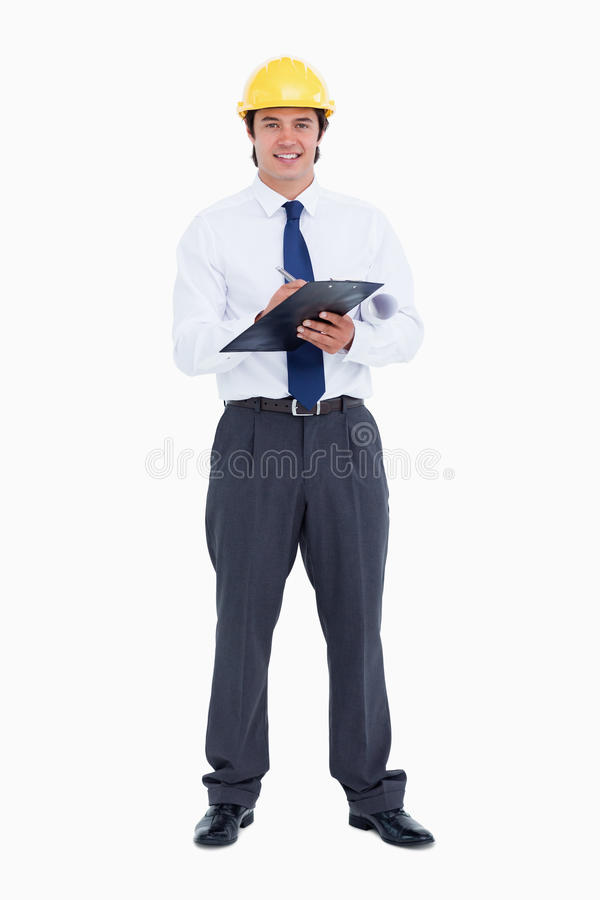 Download Smiling Male Architect With Pen And Clipboard Stock Photo - Image: 23015672