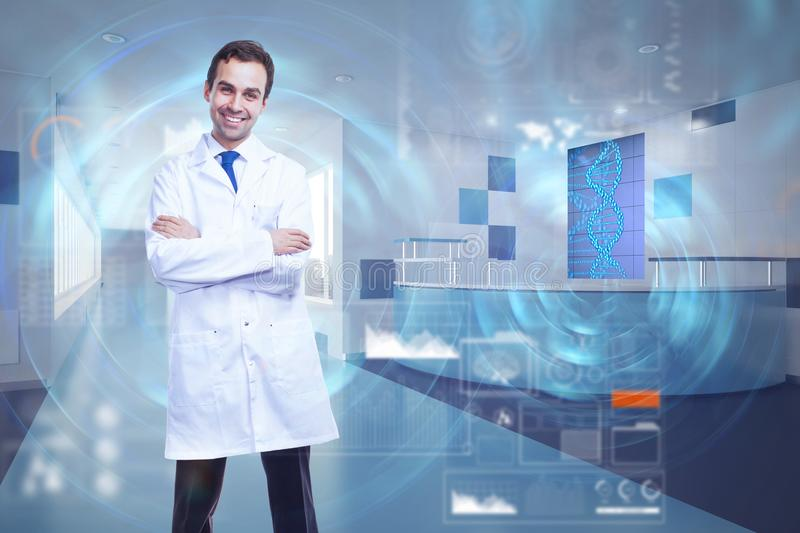 Medicine and future concept. Smiling male doctor with folded arms standing in abstract hospital interior with glowing DNA interface. Medicine and future concept stock photos