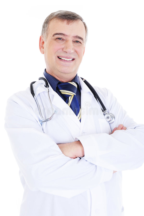 Smiling male doctor with stethoscope royalty free stock image
