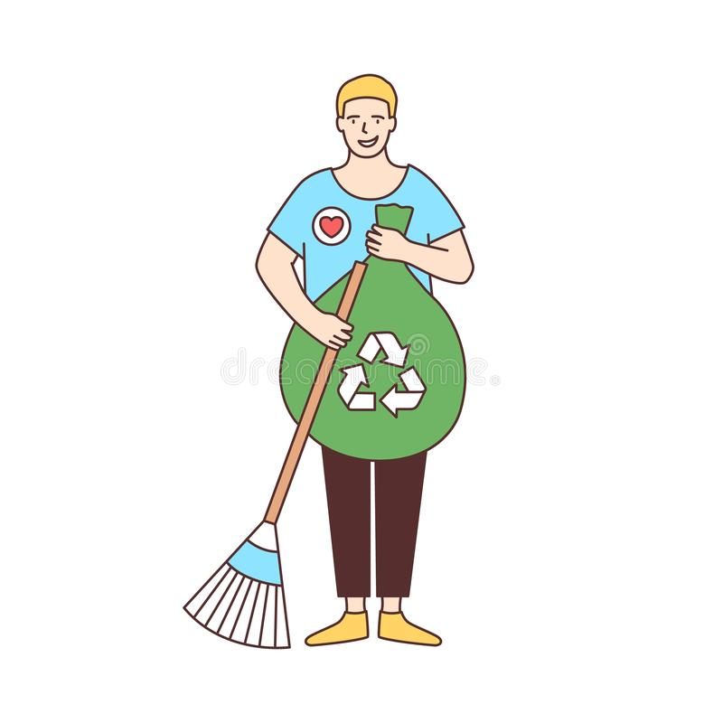 Smiling male volunteer with broom and recycling bag sweeping street isolated on white background. Ecological activism. Eco volunteering, altruistic activity royalty free illustration