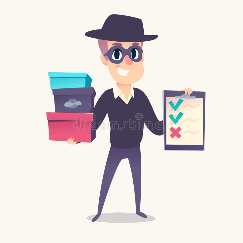 Smiling man as mystery shopper in mask and spy hat, with boxes and cheklist in hands. royalty free illustration