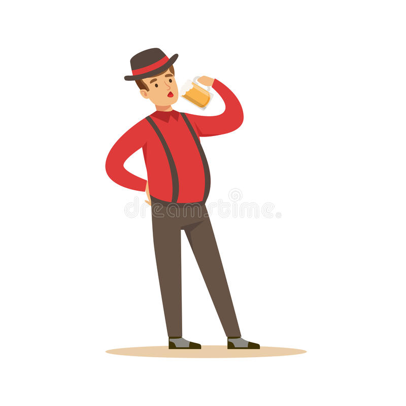 Smiling man in a Bavarian traditional costume drinking a beer, Oktoberfest beer festival vector Illustration. On a white background royalty free illustration