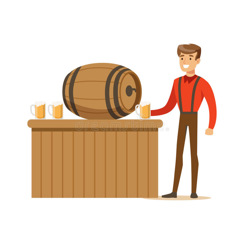 Smiling man in a Bavarian traditional costume pouring beer into glass mug in a bar or pub, Oktoberfest beer festival. Vector Illustration on a white background royalty free illustration