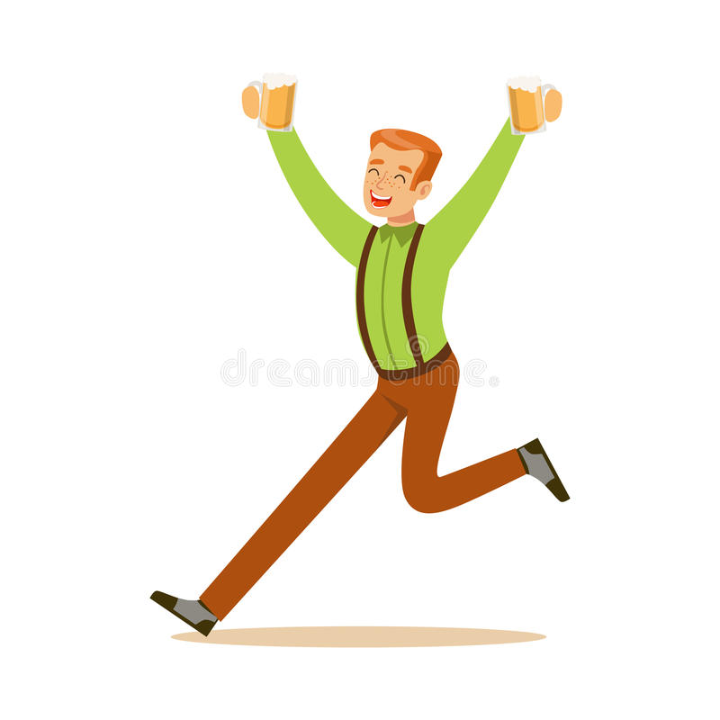 Smiling man in a Bavarian traditional costume running with beer mugs, Oktoberfest beer festival vector Illustration. On a white background vector illustration