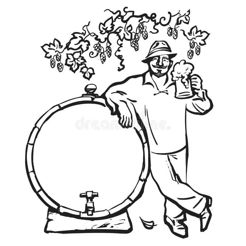 Smiling man with beer mug, leaning on barrel under branch of hops. Hand drawn vector sketch isolated on white background vector illustration