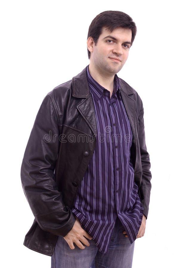 Smiling man in a black leather jacket stock photos