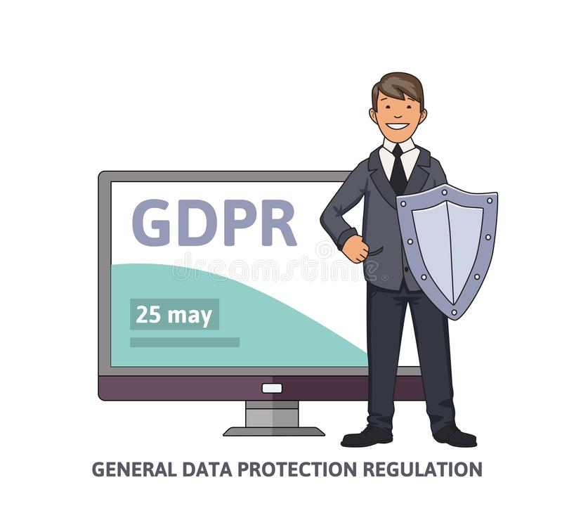 Smiling man in business suit with a shield in front of computer monitor showing GDPR date. General data protection vector illustration