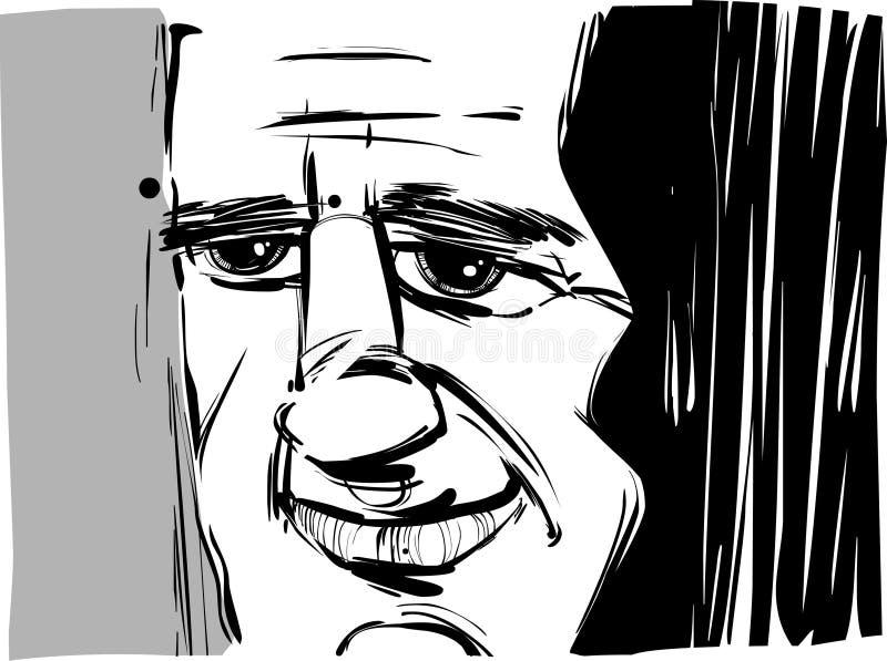 Smiling man caricature