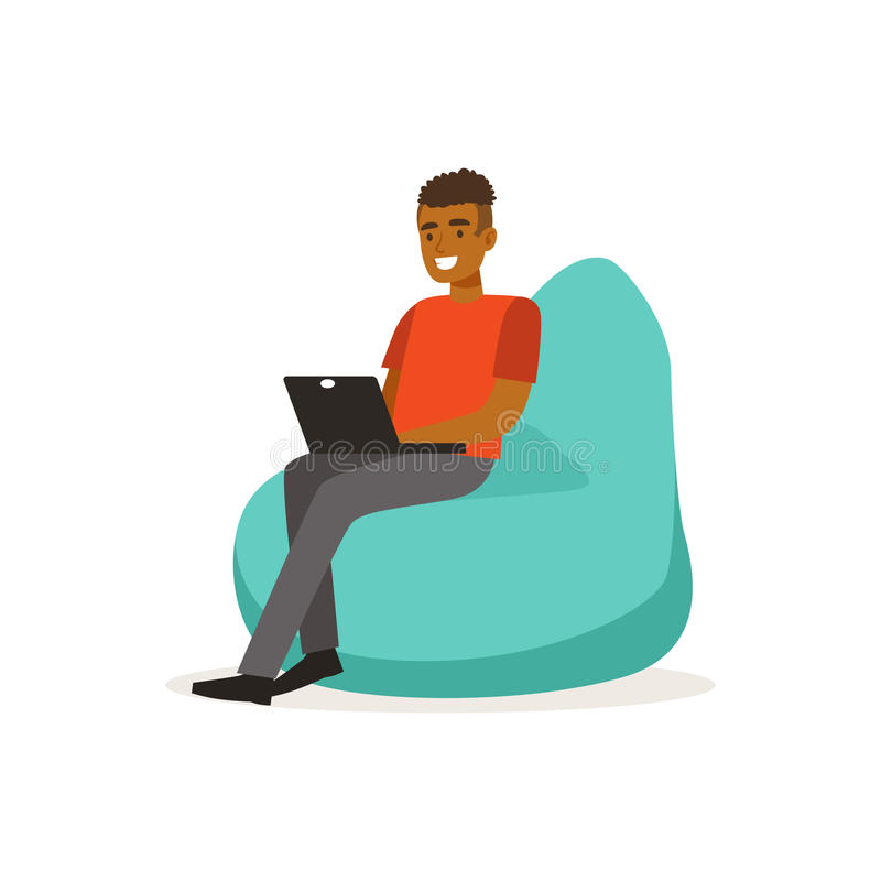 Smiling man casual dressing, sitting on bean bag chair and working with laptop, coworking space vector Illustration stock illustration