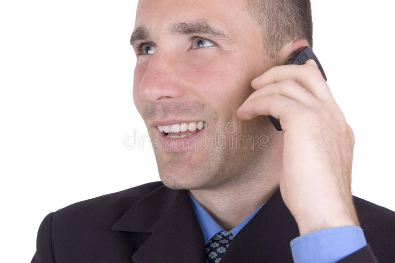 Smiling man with cellphone stock photo