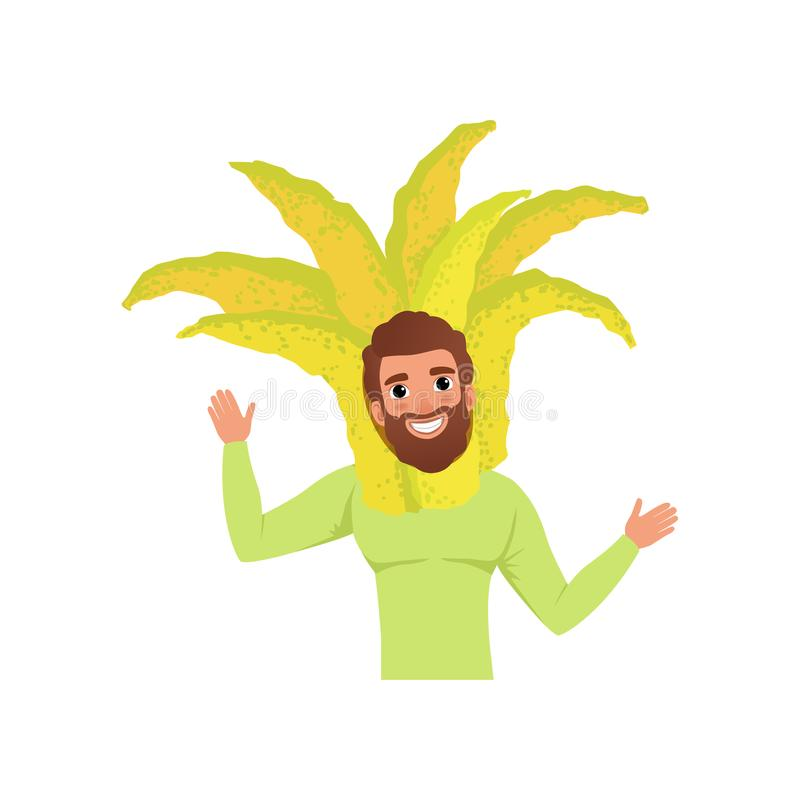 Smiling man character in fingered citron fruit headwear, vector Illustration on a white background. Smiling man character in fingered citron fruit headwear stock illustration