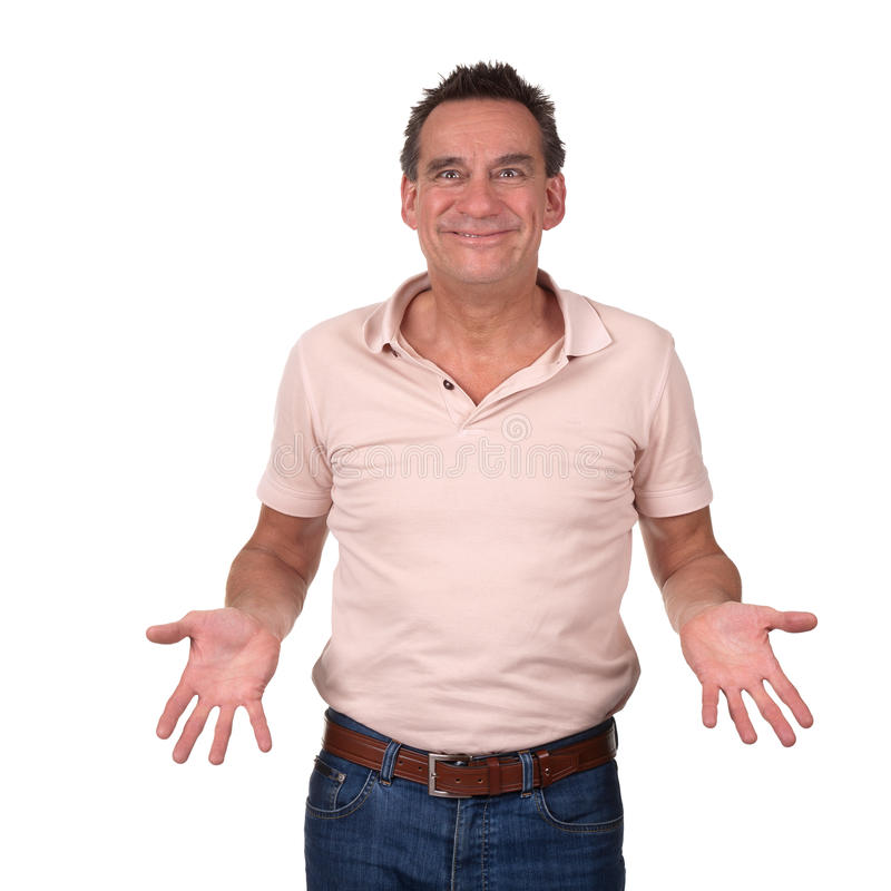 Download Smiling Man With Cheesy Grin Holding Hands Forward Royalty Free Stock Photos - Image: 20896498