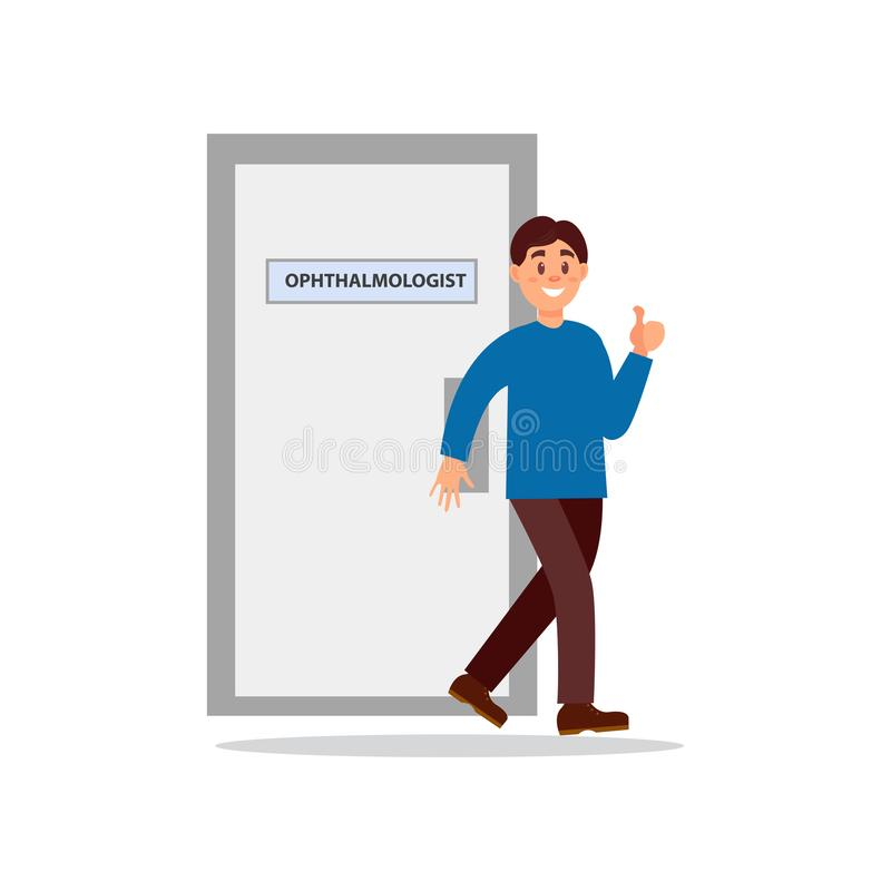 Smiling man coming out from office of ophthalmologist and showing thumb. Happy patient. Medical treatment and healthcare. Concept. Colorful flat vector royalty free illustration