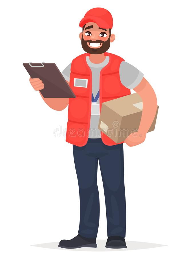 Smiling man courier with a parcel. Vector illustration royalty free illustration