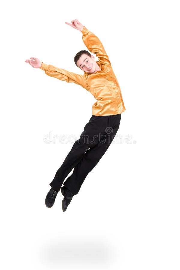 Smiling man dancer jumping. On a white background royalty free stock image