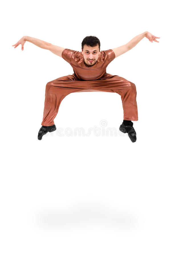 Smiling man dancer jumping. On a white background stock photography