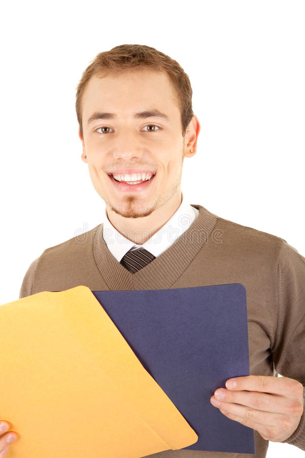 Smiling man with documents royalty free stock images