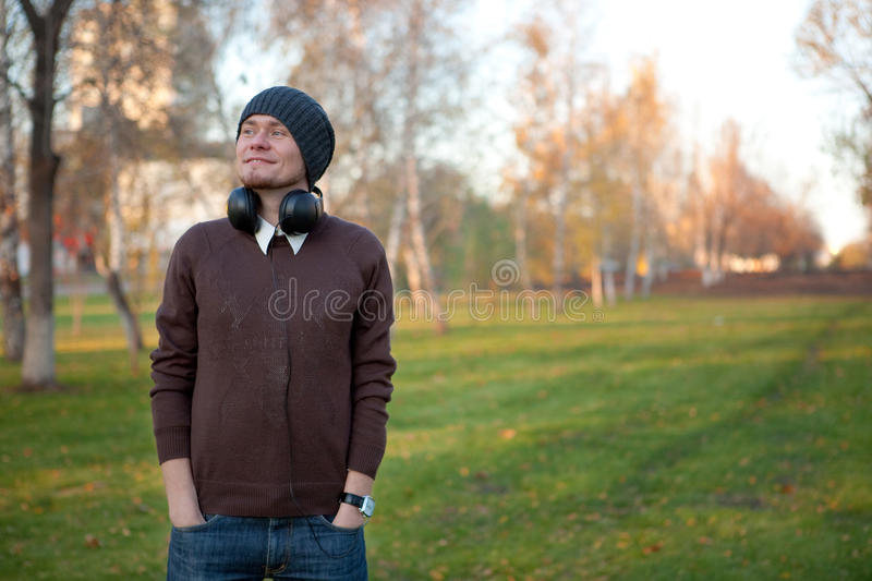 Smiling Man With Earphones Royalty Free Stock Image