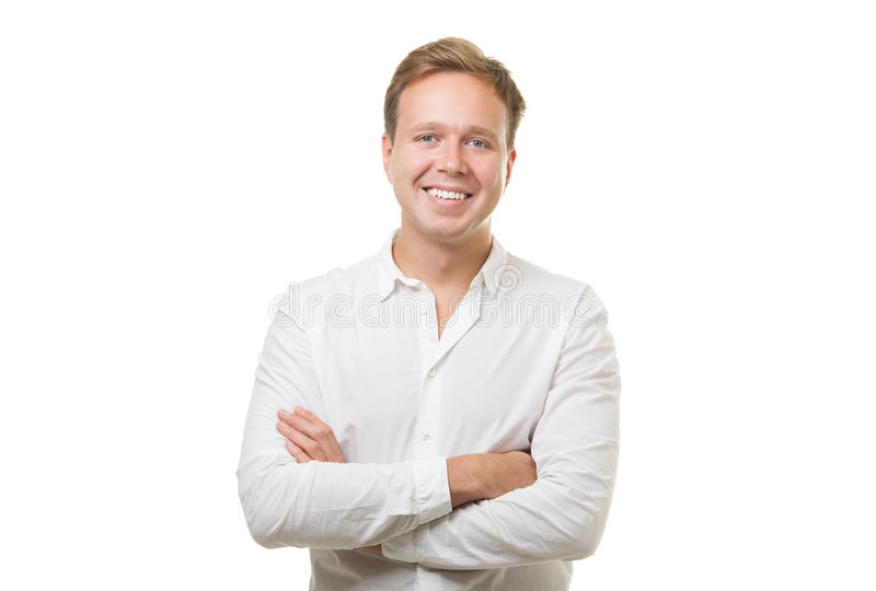 Smiling Man with Folded Arms stock images