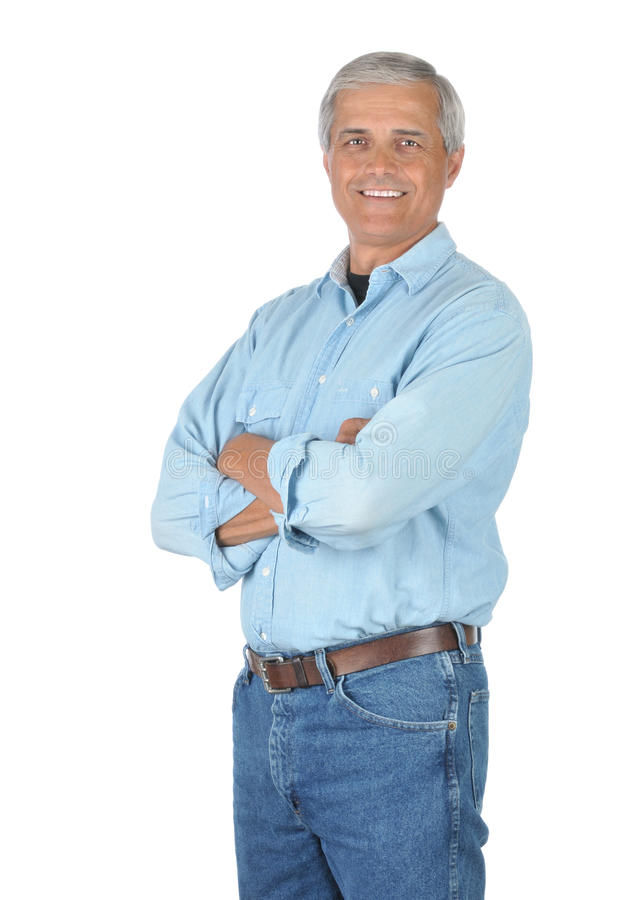 Smiling Man in Jeans and Work Shirt stock photos