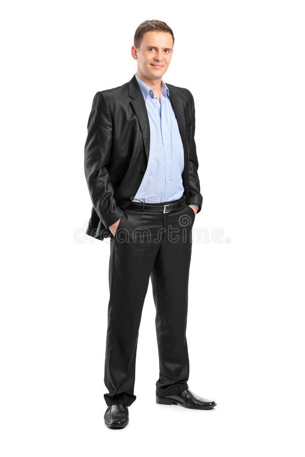 Smiling man looking at camera with confidence stock photography
