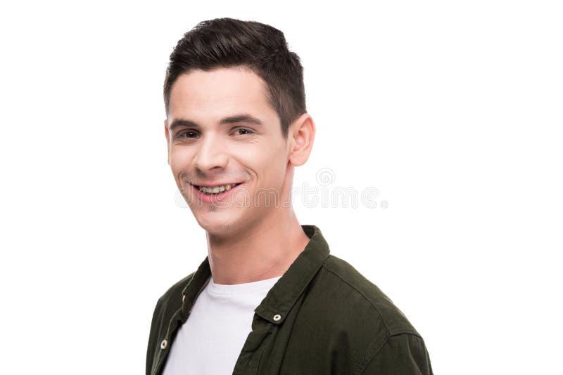 smiling man looking at camera stock photos