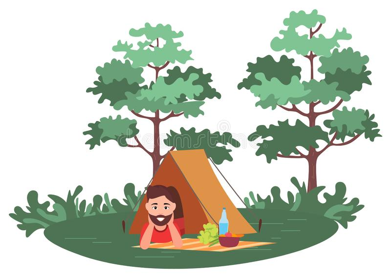 Leisure in Forest, Man in Tent, Picnic Vector. Smiling man lying in tent, mat with products on grass, green trees, picnic element. Portrait view of male stock illustration