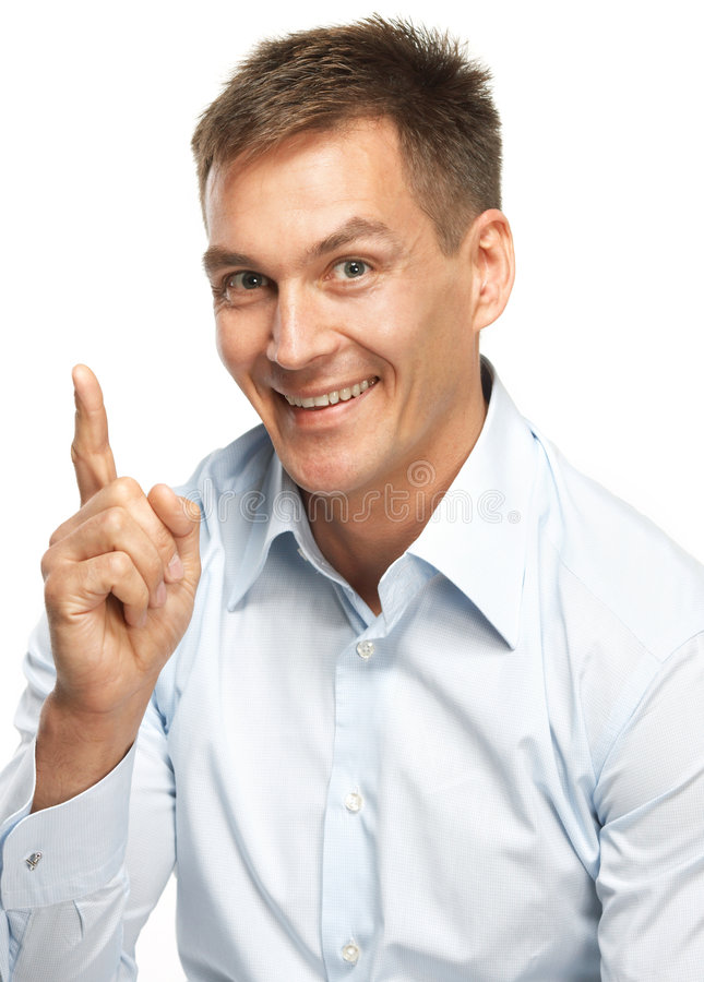Smiling man making a point stock photos