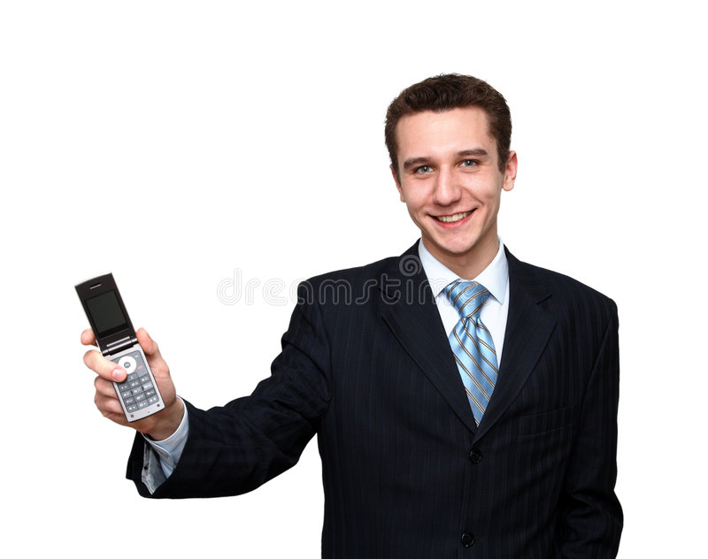 Download Smiling Man With Mobile Phone Stock Image - Image of male, human: 8814973